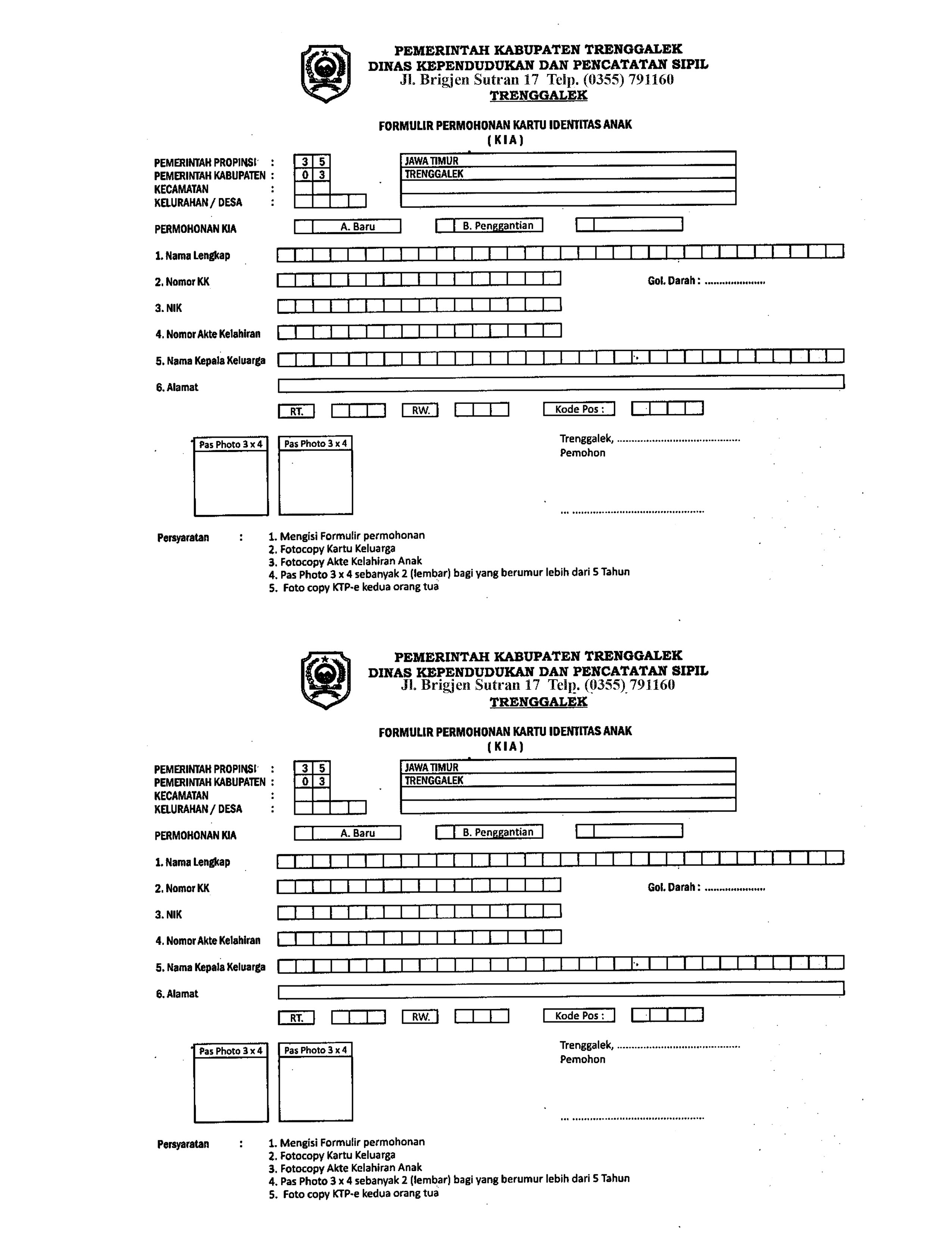 Formulir Permohonan Kia Dinas Kependudukan Dan Pencatatan Sipil Kabupaten Trenggalek