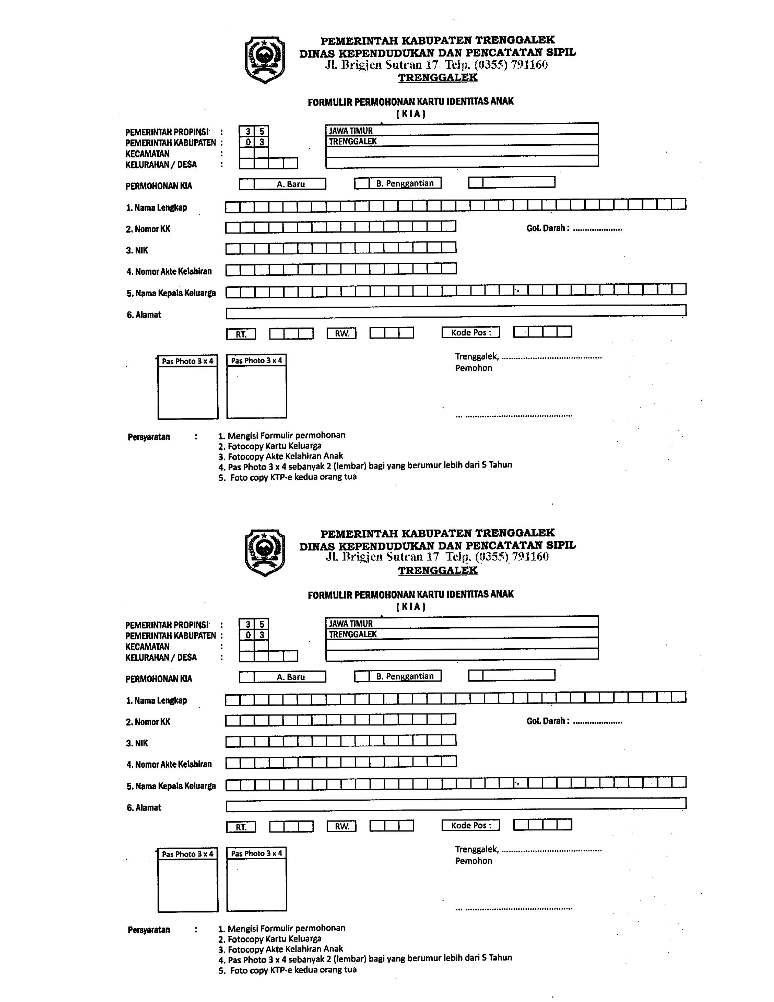 formulir permohonan kia  u2013 dinas kependudukan dan